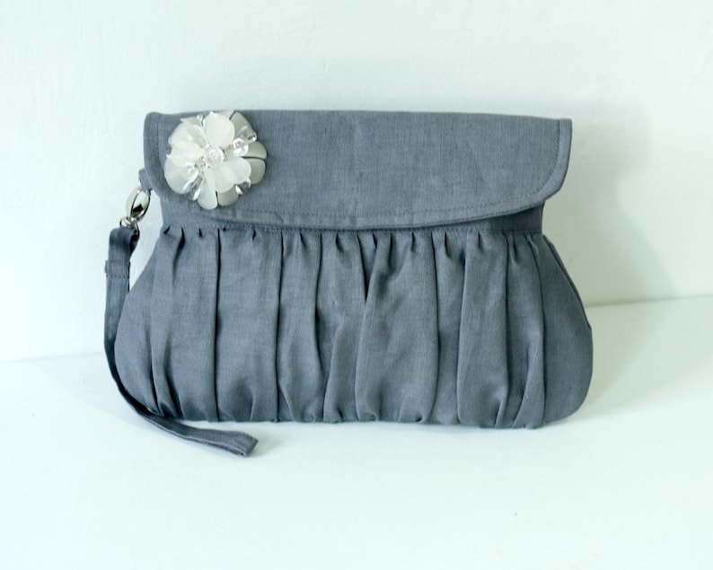 Charcoal Grey Linen Clutch with white beaded flower image 0