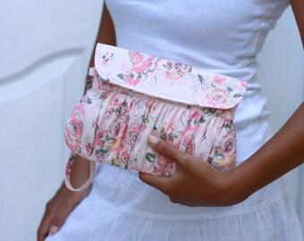 Pastel color clutch, blush pink floral clutch, valentine gift for her