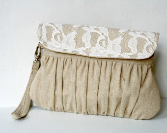 Lace clutch purse in Linen, bridesmaid gift, bridesmaid clutch, linen and lace clutch purse, rustic style clutch