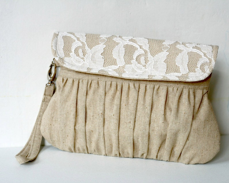 Lace clutch purse in Linen bridesmaid gift bridesmaid image 0