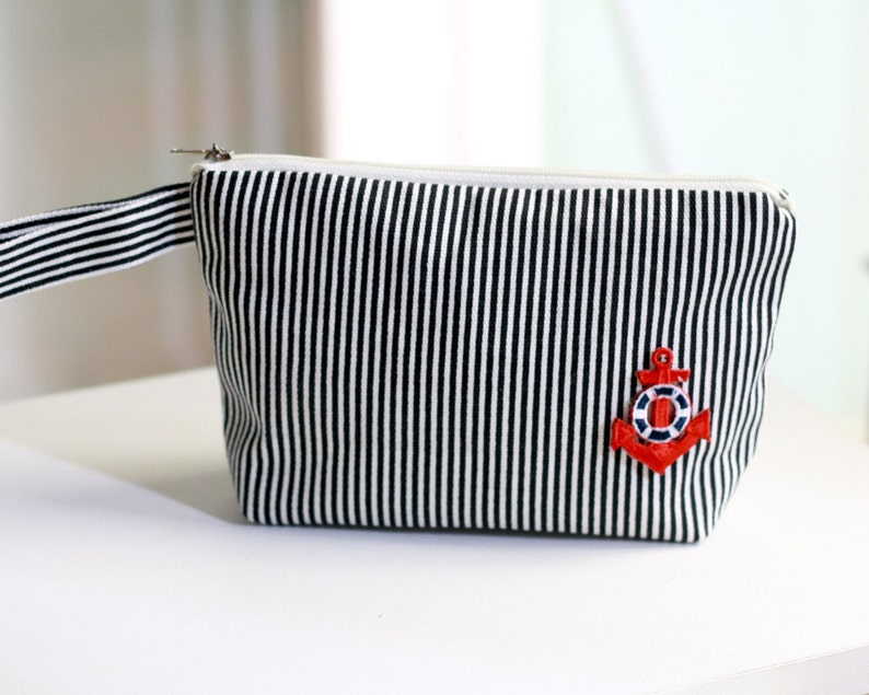 Cosmetic Bag nautical stripe canvas pouch zippered make up image 0