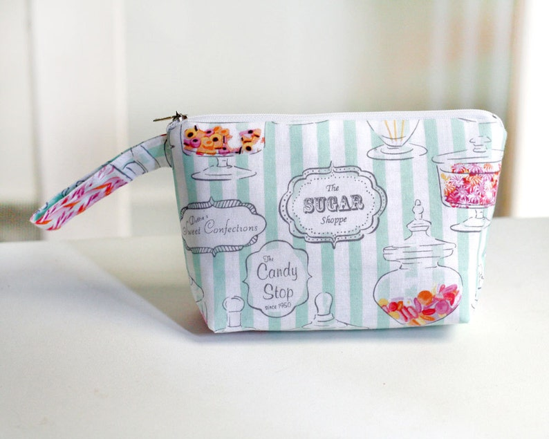 Zipper Pouch multi use pouch cosmetic case sweet candy shop image 0
