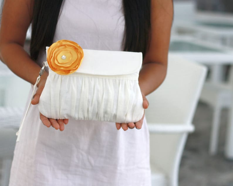 ivory Wedding clutch with yellow satin flower  choose your image 0