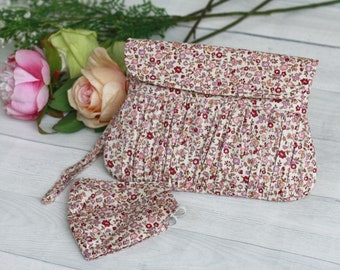 Matching Clutch and Mask, Dusty pink floral clutch, Bridesmaid Gift, gift for her, Tiny floral clutch purse, Dusty Pink Wedding