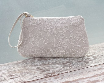 Butterfly lace and linen wristlet clutch, rustic wedding clutch, burlap and lace clutch