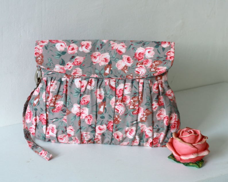 Pink and Grey Clutch pink roses pleated wristlet clutch image 0