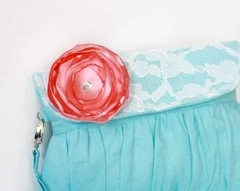 Bridesmaid clutch linen and lace aqua and coral satin flower, beach wedding, summer wedding clutch