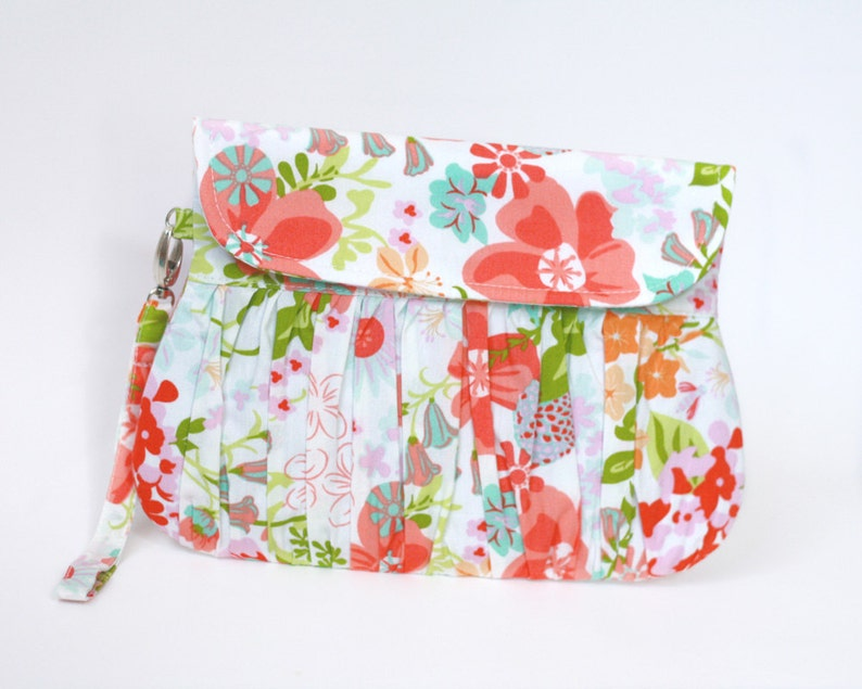 Summer Clutch Flowers in coral and green clutch purse image 0