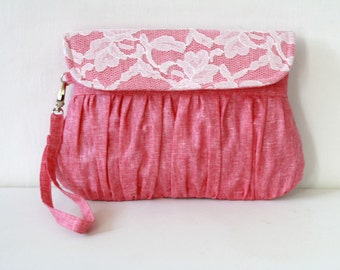 Wedding Clutch Linen and Lace Fuchsia and Ivory