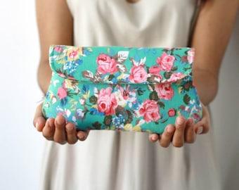 Floral clutch, turquoise green clutch purse, bridesmaid gift, bridesmaid clutch, garden wedding