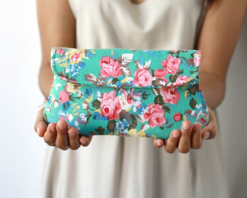 Floral clutch turquoise green clutch purse bridesmaid gift image 0