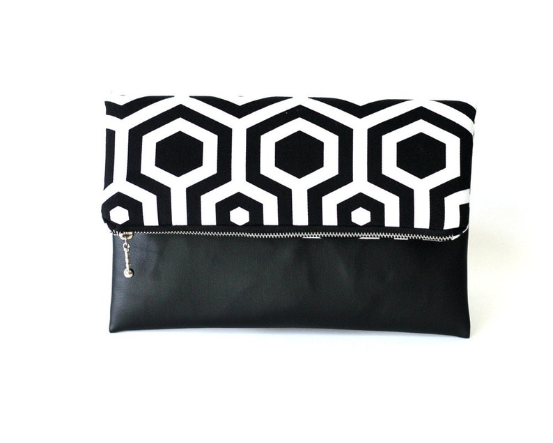 Black and White Fold Over Clutch Geometric Clutch Bag image 0