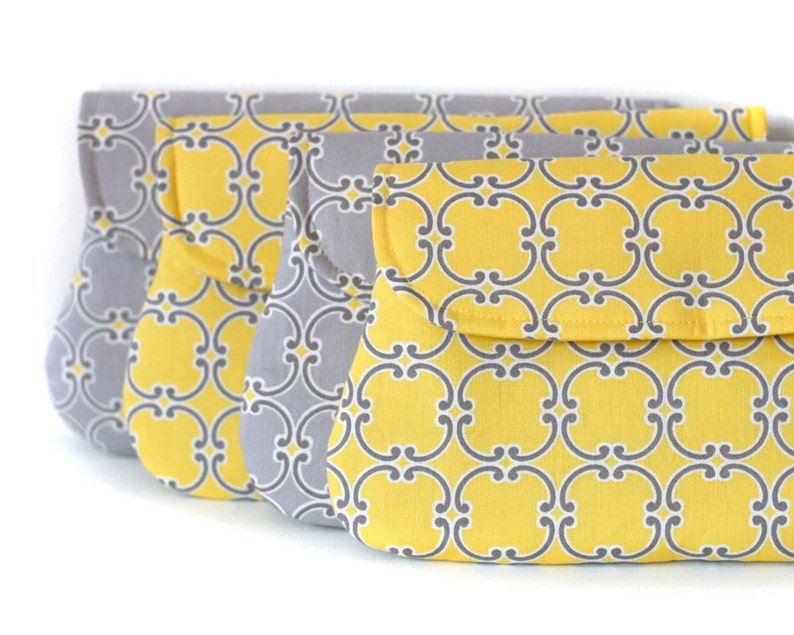 set of 4  yellow and grey bridesmaid clutch wedding clutch image 0