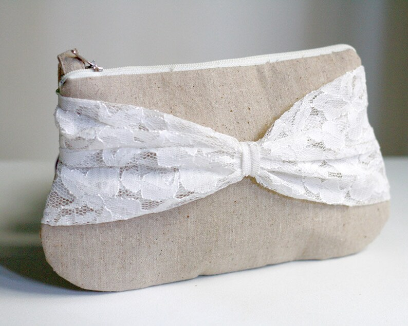 bridesmaid clutch  linen and bow lace clutch  zippered image 0