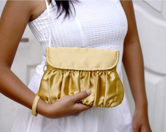 Bridesmaid Clutch Gold, Satin clutch purse, bridesmaid purse, wristlet clutch, bridesmaid gift