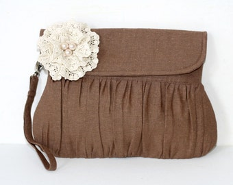 Brown Rustic Wedding Clutch, linen and lace and pearl flower, bridal clutch, bridesmaid clutch