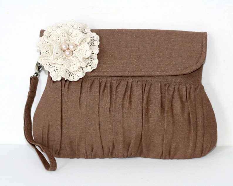Brown Rustic Wedding Clutch linen and lace and pearl flower image 0
