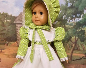 Mid 1800's Dress, Apron and Bonnett - Fits American Girl Dolls Kirsten or Addy