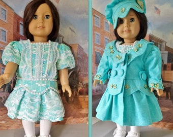 1904 Drop Waist Coat, Dress, Hat, Shoes, Tights and Bloomers, Fits American Girl Dolls Samantha or Rebecca