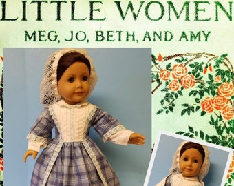 Little Women circa 1860 Day Dress, Snood and Shawl fits American Girl Dolls
