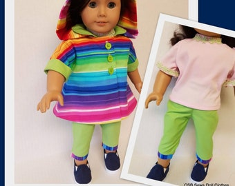 Hooded Jacket, Knit Top, Capris and Sneakers fits American Girl Doll Courtney
