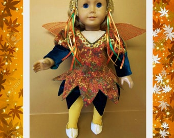 Autumn Fairy Costume with Tights and Shoes - Fits American Girl Dolls