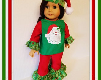 Christmas Top, Pants and Santa Hat - fits all American Girl Dolls