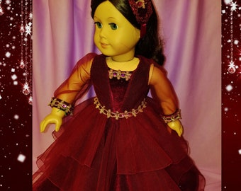 Sparkling Burgandy Ball Gown with Tiered Skirt - Fits American Girl Dolls