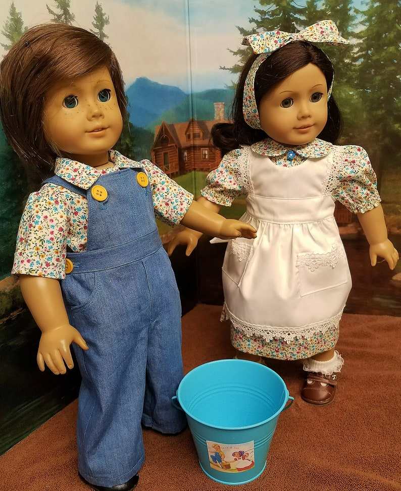 Jack and Jill Costumes with Pail  fits American Girl Dolls image 0