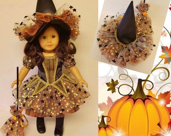 Sparkling Autumn Halloween Witch Costume Fits American Girl Dolls