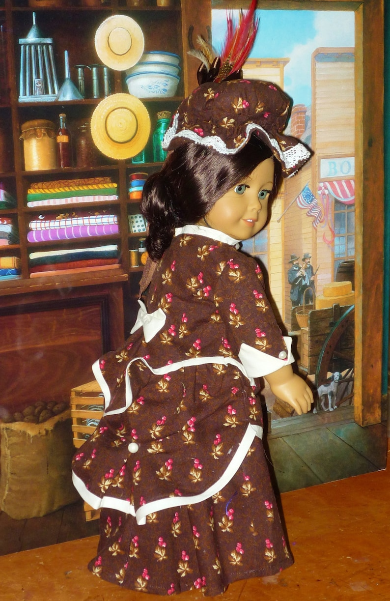 Victorian Bustle Dress and Hat fits American Girl Doll image 0