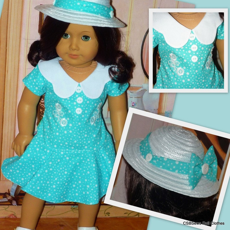 Easter Dress and Hat  Buttons and Bows Fits American Girl image 0