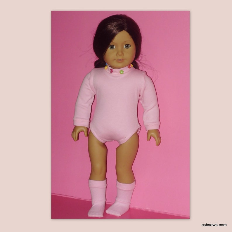 Pink Body Suit & Socks fits American Girl Dolls image 0