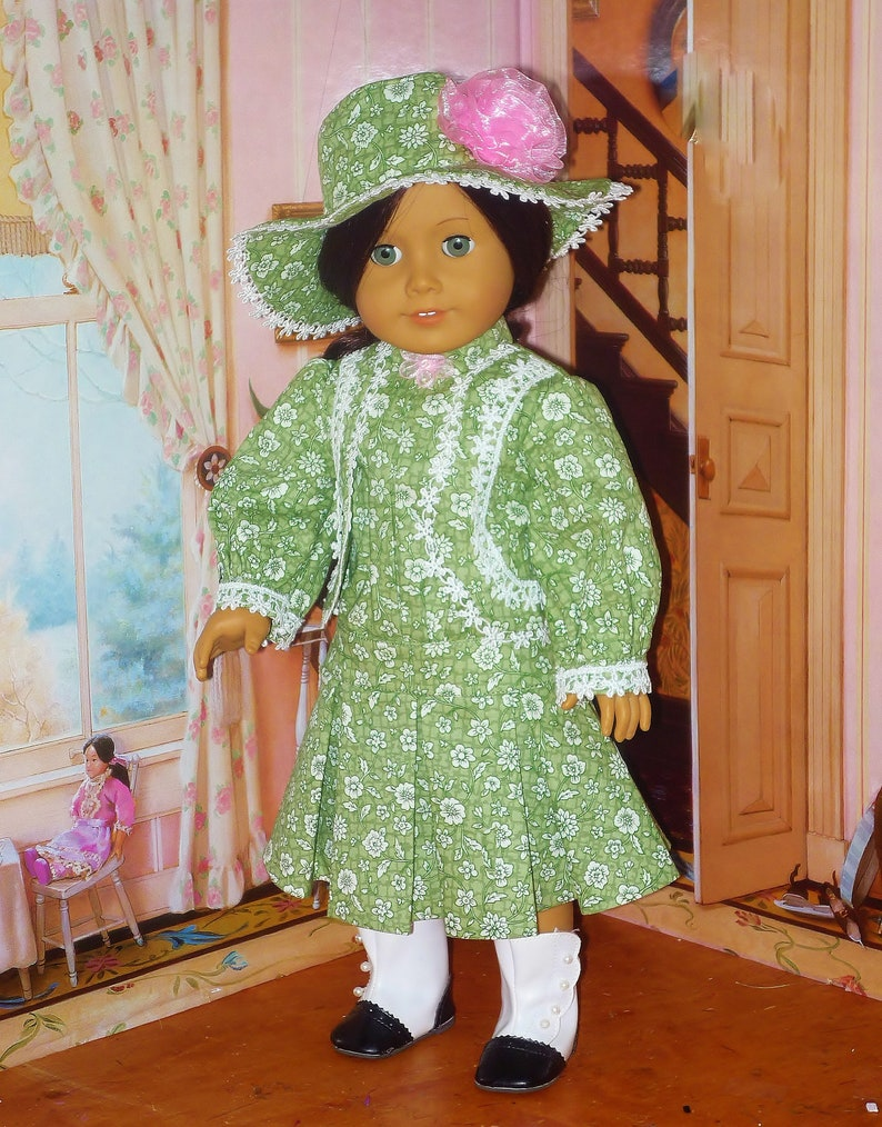 Daytime Victorian Dress with Hat fits American Girl Doll image 0