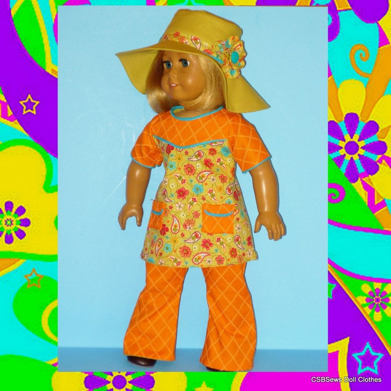 Bell Bottom Pants Top and Bohemian Floppy Hat fits American image 0