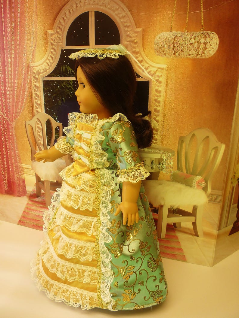 Colonial Ball Gown with Cap and Bloomers fits American Girl image 0