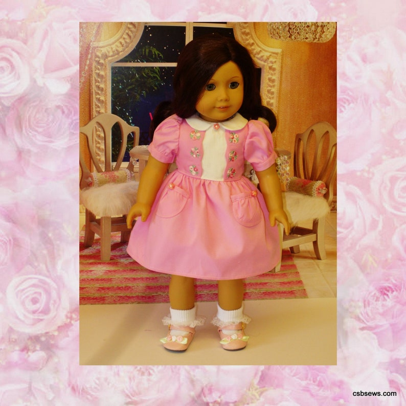 Rose Dress and Accessories fits American Girl Dolls Kit and image 0