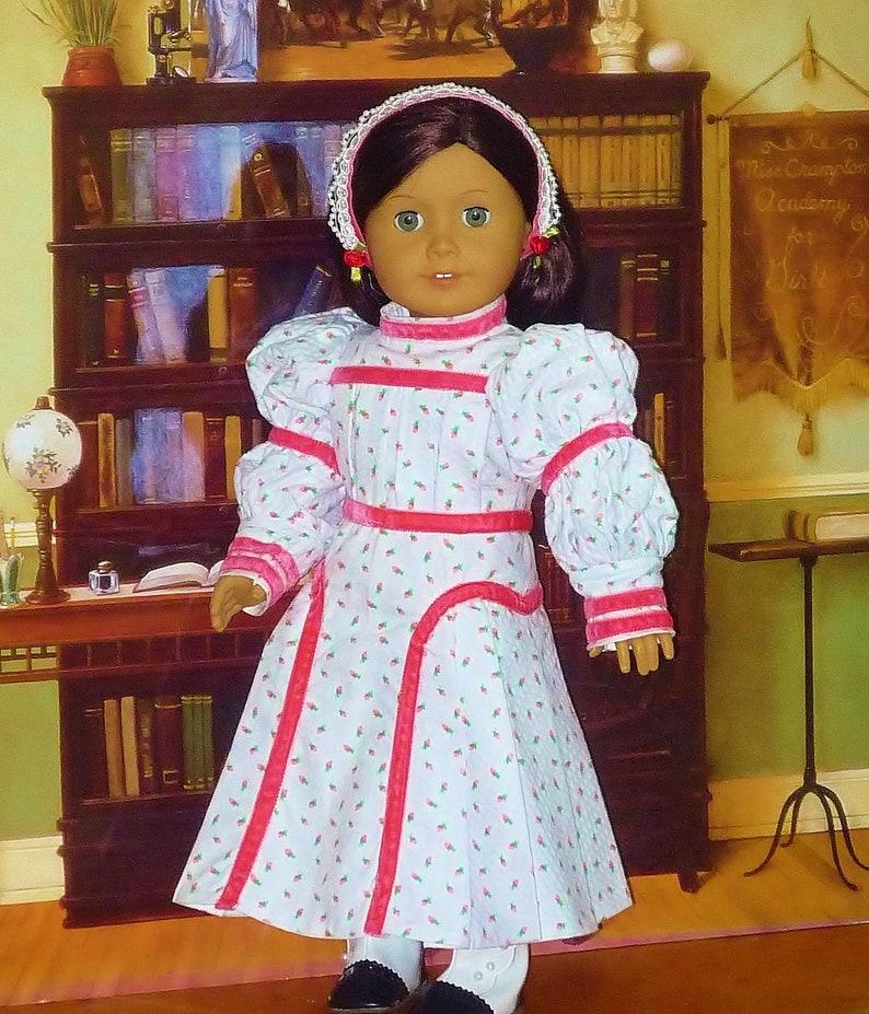 Victorian Rosebud Dress and Headband fits American Girl Doll image 0