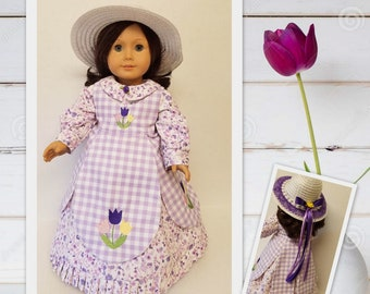 1850's Dress, Pinafore, Hat and Undergarments - Fits American Girl Dolls Cecile and Maria-Grace
