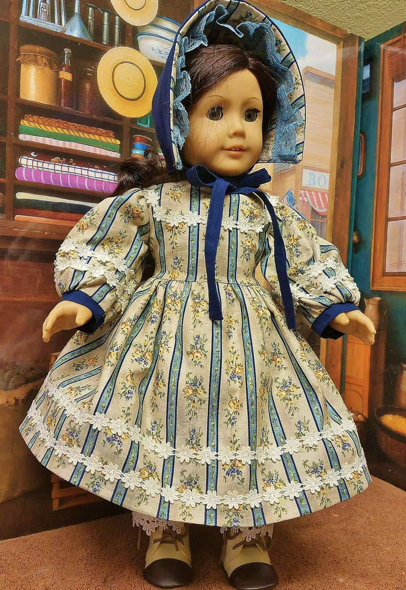 Town Dress circa 1864 with Undergarments  Fits American Girl image 0
