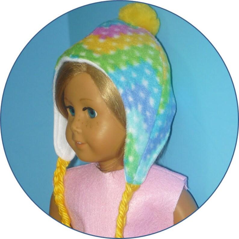 Fleece Ear Flap Cap with Yarn Braids  fits American Girl image 0