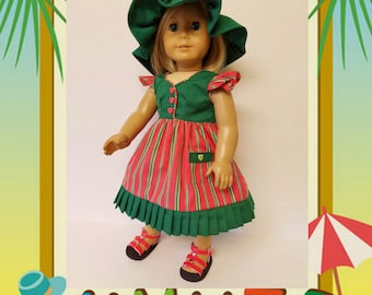 Summer Sun Dress, Floppy Hat and Sandals - fits American Girl Dolls