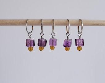 Stitch markers set of 5 purple & yellow