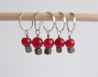 Stitch markers set of 5 red & gray