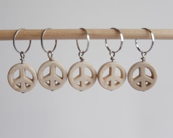 Peace sign stitch markers set of 5 white