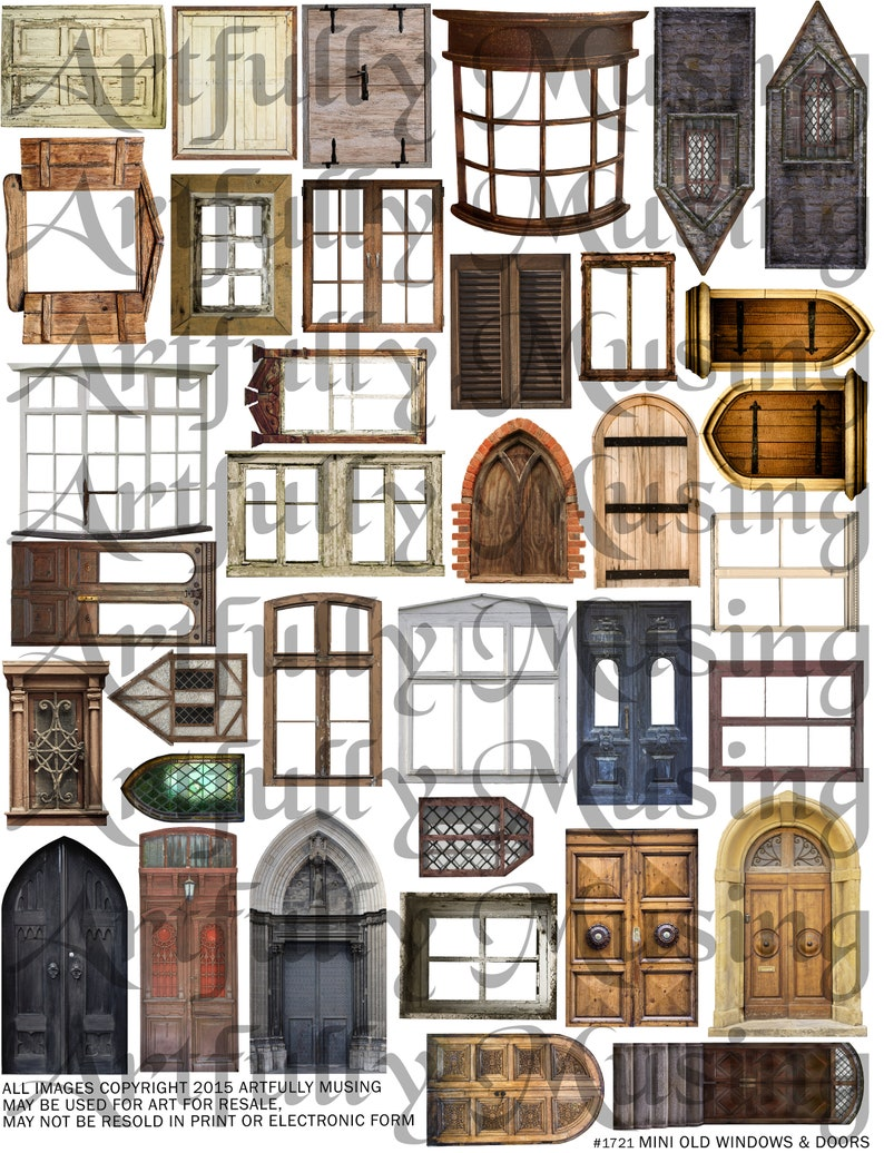 Mini Old Windows and Doors Architecture Collage Sheet - Digital Printable -  Instant Download