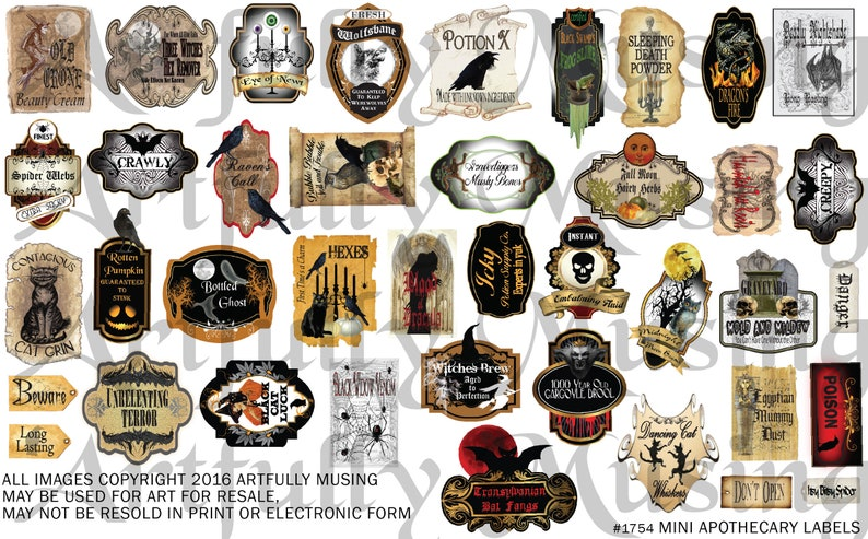 Mini Apothecary Labels Halloween Collage Sheet Digital image 0