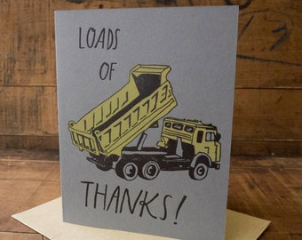 Loads of Thanks Letterpress Thank You Card - handmade quirky fun gratitude blank grey card