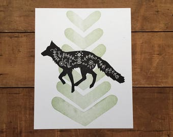 Fox and Flowers Block Print - nursery art, scandinavian inspired, woodland creature, letterpress green and black, wolf coyote linocut