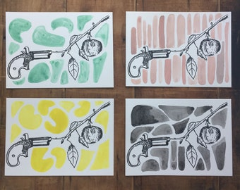 Special Edition - Gun Apple Letterpress + Watercolor - all proceeds go to the Coalition to Stop Gun Violence, and Black Lives Matter